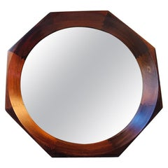Danish Midcentury Octagonal Rosewood Wall Mirror by BVK, 1960s
