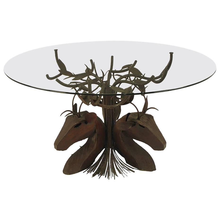 Michael taylor cyprus tree trunk dining table at 1stdibs - Studio Steel Sculpture Deer Trio Dining Table
