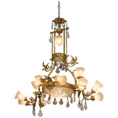 19th Century French Gilt Bronze and Crystal Aesthetic Twelve-Light Chandelier