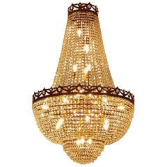 Antique Look Crystal Chandelier Empire Sac a Pearl Palace Lamp Chateau Lustre