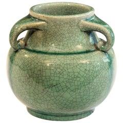 Vintage Awaji Pottery Studio Japanese Art Deco Green Crackle Vase Signed