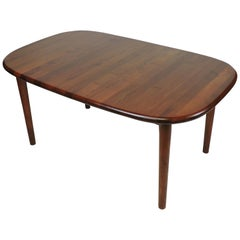 Solid Teak Large Danish Modern Extendable Dining Table
