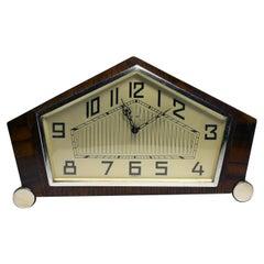 English 1930s Art Deco 8 Day Walnut Mantle Clock