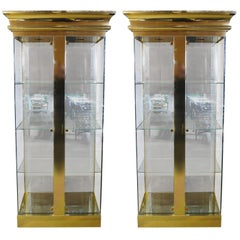 Pair of Mastercraft Brass and Glass Display Cabinets