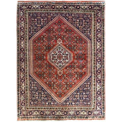 Persian Hand-Knotted Red Indigo Blue Bijar Rug
