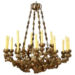 Italian Gilt Iron Tole Chandelier