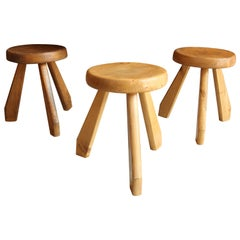 Charlotte Perriand, Stools from Les Arcs, Savoie, circa 1968