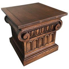 Wooden Ionic Column Side Table Stool