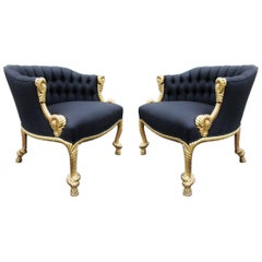 Stunning Pair of Napoleon III Style Twisted Rope and Tassel Carved Armchairs
