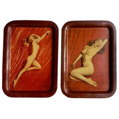 Nude Marilyn Monroe Pin Up Cocktail Trays, circa  1950s