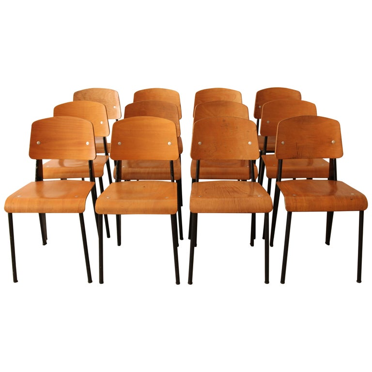 Jean Prouvé, Monumental Set of 12 'Semi-Metal' Chairs, circa 1950 For Sale