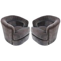 Pair of Milo Baughman Style Swivel Barrel Chairs