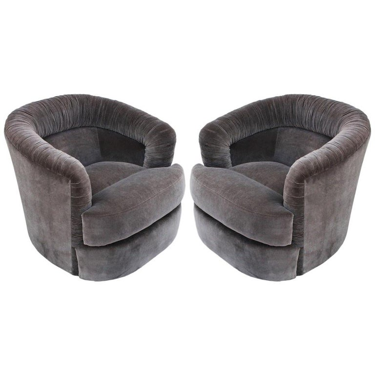 Pair of Milo Baughman Style Swivel Barrel Chairs