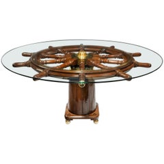 Dining Table Made from a 19th Century Ship's Steering Wheel