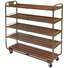French Industrial Shelving Rack Rolling Bookcase Cart Vintage Factory Trolley