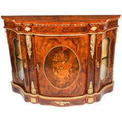 Antique Victorian Serpentine Burr Walnut Marquetry Credenza, 19th Century