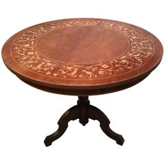 19th Century Round Marquetry Pedestal Italian Table