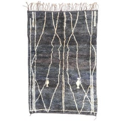 Moroccan Berber Rug, Middle Atlas Carpet, Grey Beige & Blue Wool, Contemporary