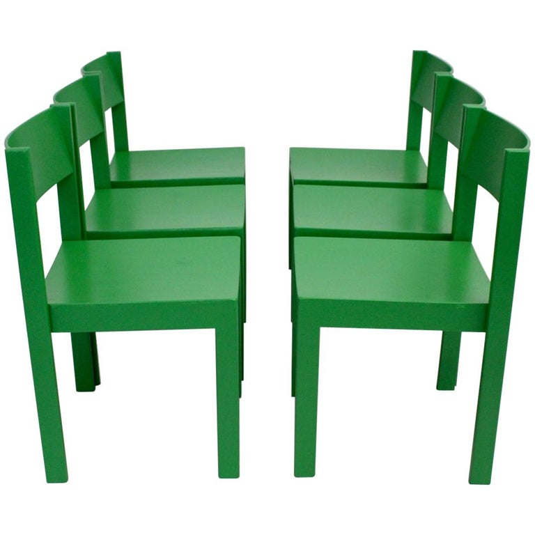 Green Mid-Century Modern Carl Auböck Dining Room Chairs, Vienna 1956, Set of Six