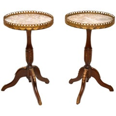 Pair of Antique French Marble-Top Wine Tables