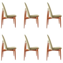 Up to Six Green Velvet Midcentury Chairs, Miroslav Navratil, Czechoslovakia 1950