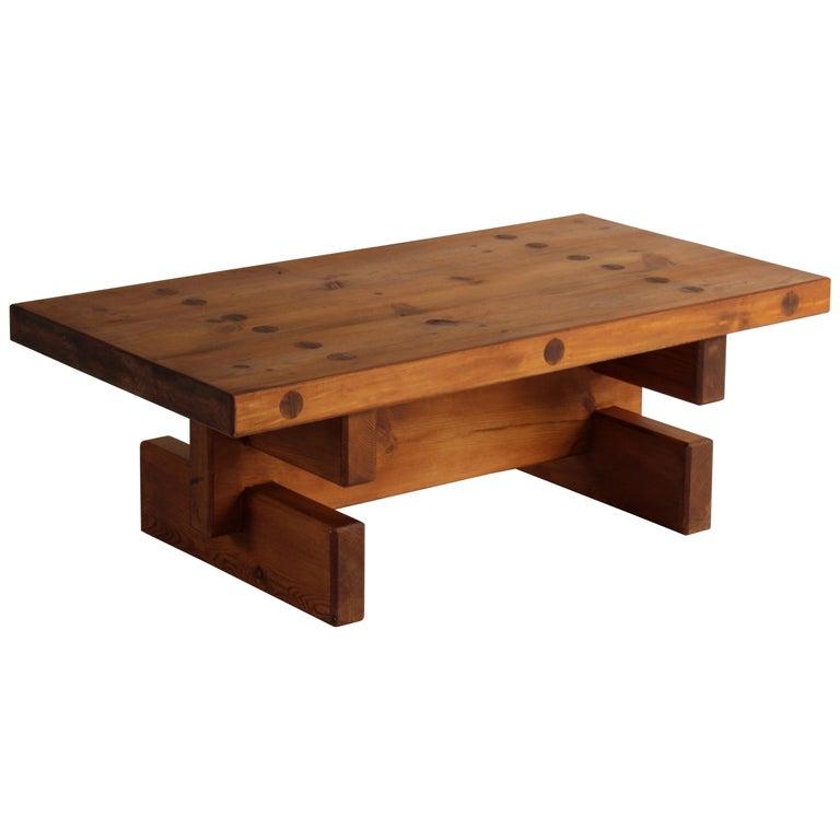 Roland Wilhelmsson, Unique Signed Coffee Table, Pine, Studio of Artist 1968