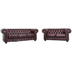 Chesterfield Leather Sofa Brown Three-Seat Couch Vintage Retro