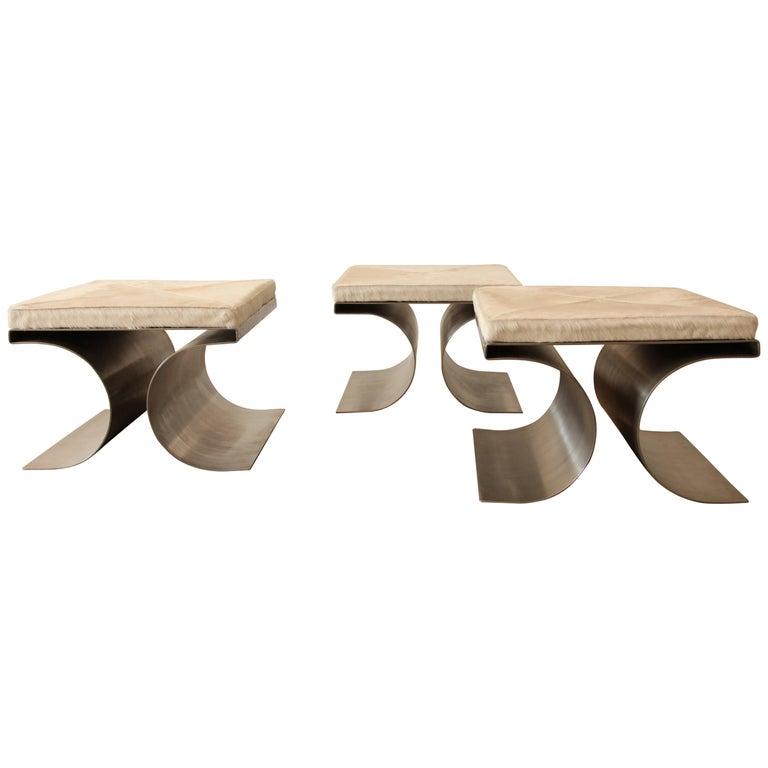 "Michel Boyer, Set of Three ""X"" Stools, circa 1968 For Sale"