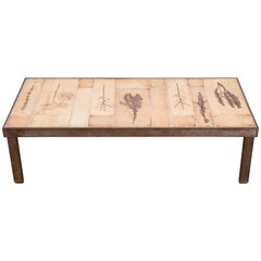 Roger Capron Garrigue Ceramic and Metal Frame French Coffee Table, 1960s