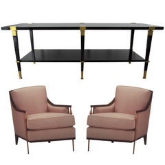 Set of Two Galerie Chairs, One Cocktail Table and One Architect Desk Andre Arbus