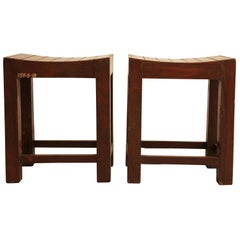 Pierre Jeanneret, Pair of Low Stools from Chandigarh, circa 1955