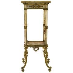 Antique French Marble and Brass Pedestal Stand