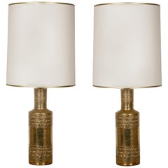 Pair of Bitossi Gilded Ceramic Lamps