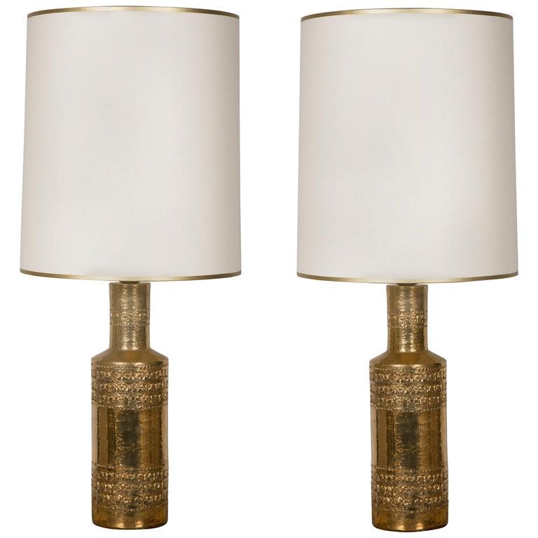 Pair of Bitossi Gilded Ceramic Lamps