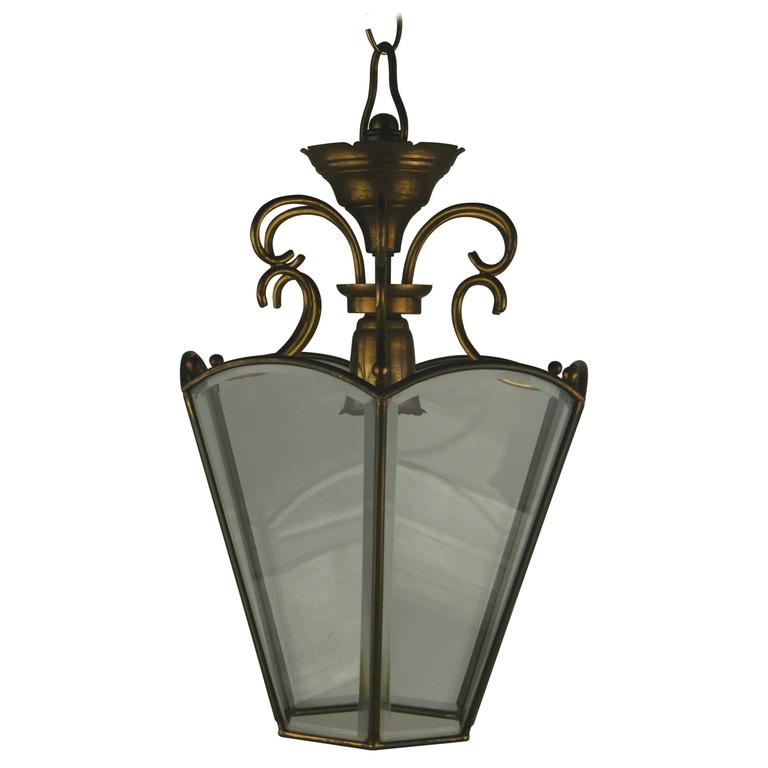 Italian Beveled Glass Italian Lantern For Sale