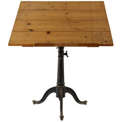 Antique American Cast Iron Base Drafting Table
