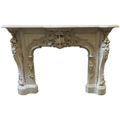 Antique Louis XV Style Fireplace in Carrara Marble