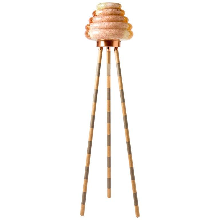 Contemporary Handblown Glass Colmena Floor Lamp with Wooden Legs