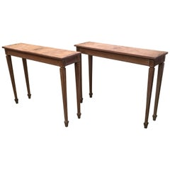 20th Italian Neoclassical Pair of Rectangular Console Tables by Mariano Garcia