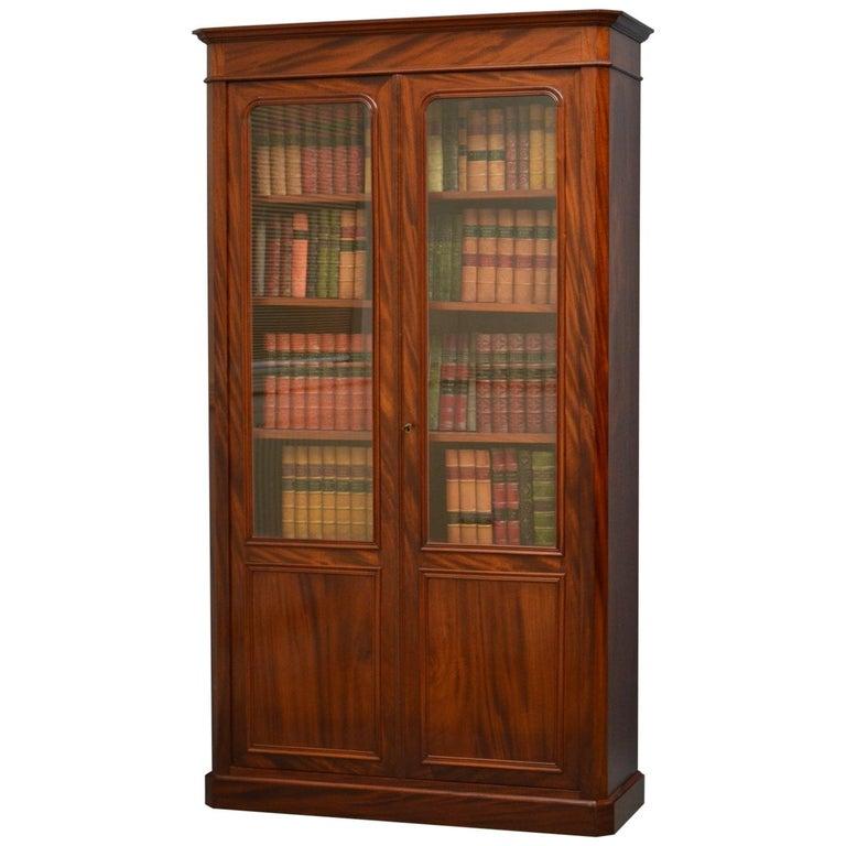 Slim 19th Century French Mahogany Bookcase