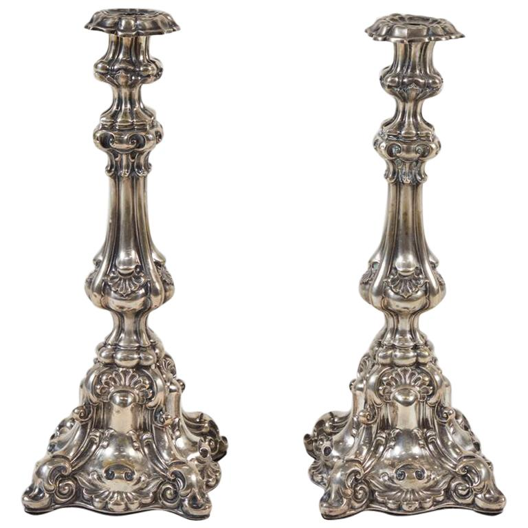 Large Pair of 19th Century Sterling Silver Candlesticks, France
