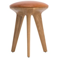 'Rotor' Contemporary Stool in Solid Oak & Upholstered Leather by Made in Ratio