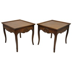 Pair French Country Shell Carved Walnut End Tables Scalloped Edge Skirt Henredon