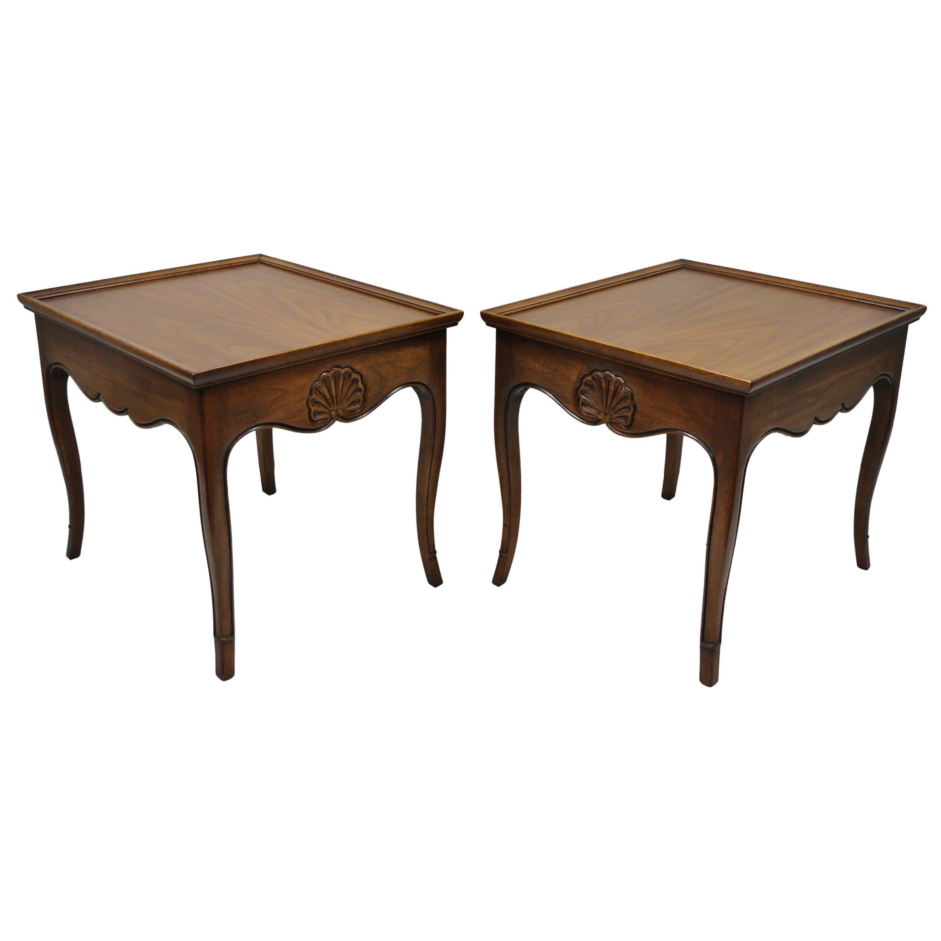 Pair French Country Shell Carved Walnut End Tables Scalloped Edge Skirt  Henredon For Sale