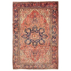 Vintage Persian Heriz Rug with Floral Medallion Design in Red and Blue