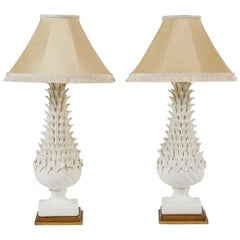 Pair of White Manises Glazed Pottery Table Lamps