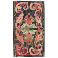 Charcoal, Red, and Green Antique American Hooked Rug with Large Flower Design