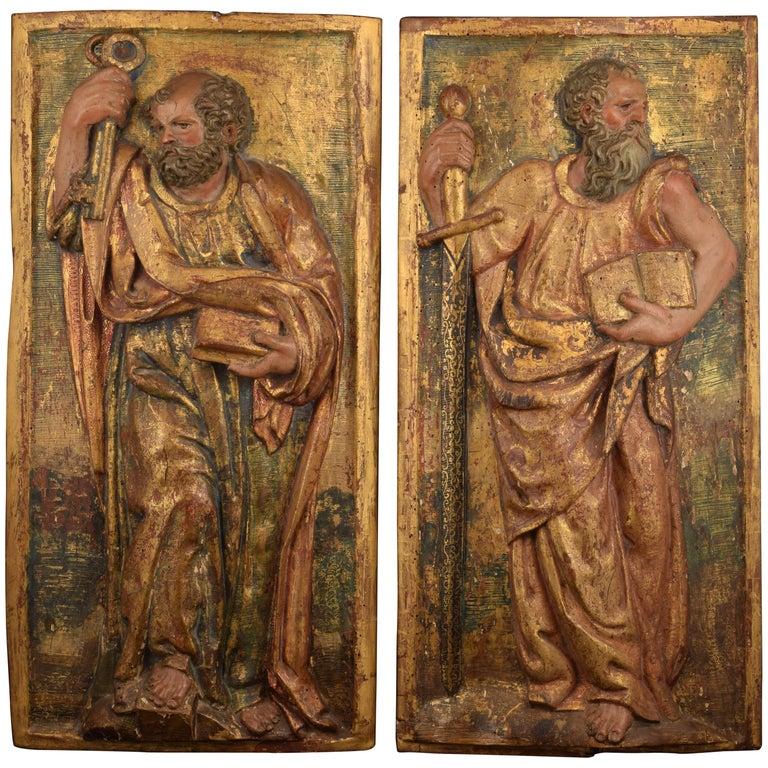 """Saint Peter"" and ""Saint Paul"", Polychromed Wood Relief, Spain, 16th Century"