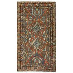 Short Antique Hand-Knotted Wool Persian Heriz Runner Rug