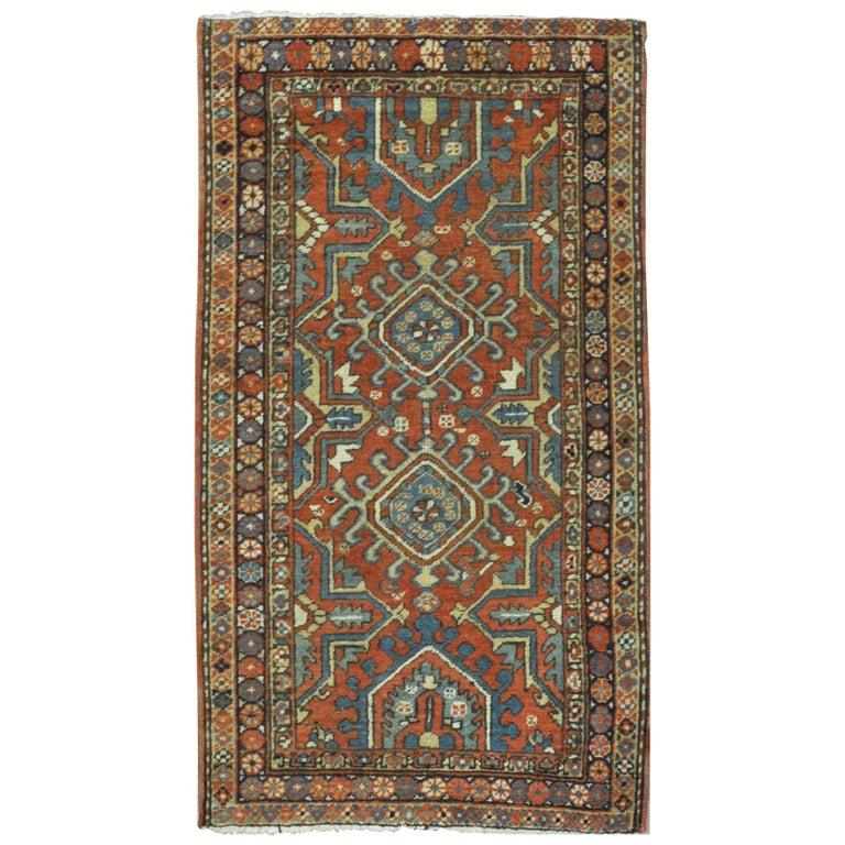 Vintage Persian Heriz Design Wool Area Rug: Short Antique Hand-Knotted Wool Persian Heriz Runner Rug